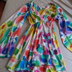 Colorful silk dress with bell sleeves